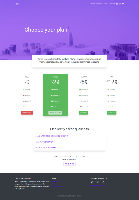 Screenshot of pricing page