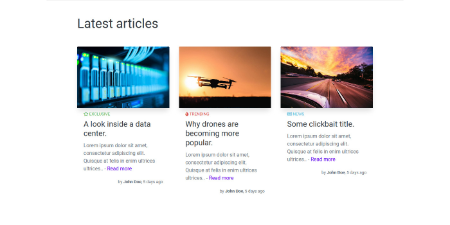 Screenshot of articles section