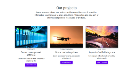 Screenshot of projects section